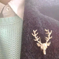 Wholesale Hot Unisex Animal Christmas Xmas Popular Cute Gold Plated Deer Antlers Head Pin Brooches Styling Jewelry