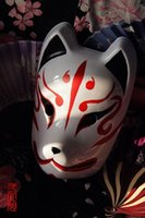 Wholesale Hand Painted Full Face Japanese Fox Mask Demon Kitsune Cosplay PVC Masquerade Halloween Cartoon Character Mask