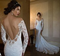 Wholesale 2016 New Arrivals of Wedding Dresses cheap Long Sleeve and Off the Shoulder Sexy beauty natural Floor Length Appliques backless