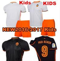 andre soccer - 16 Valencia Kids Soccer jersey PACO ALCACER ANDRE top quality Camiseta de futbol Children Soccer Kit Uniform Football Shirt