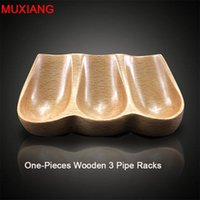 Cheap Wholesale-MUXIANG Pipe Accessories Solid Wood Spoon Shape Sitting 3 Pipe Racks Briar Wood Smoking Pipe Specialized Stands Holder fa0015
