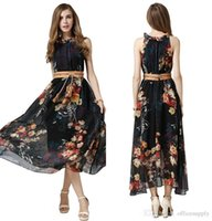belted maxi skirts - 2016 Summer Boho Women s Fashion Floral Print Chiffon Maxi Dresses with Belt Summer Beach Long Maxi Dress Sundress Evening Skirts FS0177