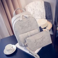 Wholesale Korean Set Phone - wholesale 2pcs sets 2016 women Bag new fashion Backpack Pu Korean cat School bag Travelling bag