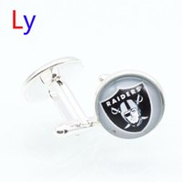 Wholesale Fashion super bowl Cufflink Oakland football Cufflinks Fathers Day Gifts For raiders Mens Jewelry Cuff Links YD0069