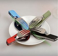 Wholesale Multipurpose fork spoon tableware portable outdoor tools Huntington camping bag knife fork and Spoon Set