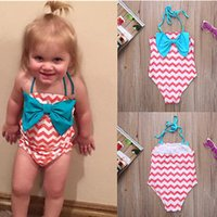 Wholesale Infant Girl Summer One Piece Swimwear Pink Purple color for T with Big Bow Chevron cloth Cute Baby bikini Swimwear