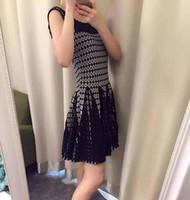 ala a m - ALA style brand quality new autumn elliptical print slim waist slash neck knitting sleeveless dress full sleeve dress