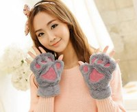 Wholesale Woman Winter Fluffy Bear Cat Plush Paw Claw Glove Novelty soft toweling lady s half covered gloves mittens Valentine s Day Gift freeshipping