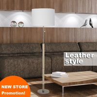 Wholesale New store promotion home family hotel decoration white black flax fabric shade with leather simple floor standing lamp light