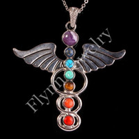 beauty swords - Beauty Chakra Beads Heart Cross Power Source Royal Sword Wings Double Snake Tree Of Life Metal Pendant Charms Energy Amulet Jewelry