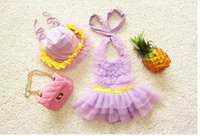 Wholesale 2016 New Summer Baby Girls One piece Hat Swimwear Tulle Dress Children Girl Beach Wear Kids Swimming Suit Cute Girl Swimsuit Colors