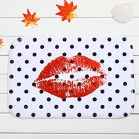 Wholesale Personality Lips Home Decorative Doormats Doormats Polyester Coral Fleece Anti Slip Rectangle Bathroom Carpet Mats x60cm