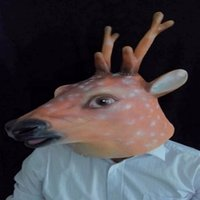 animal heater - Fashion Latex Sika Deer Head Mask for Halloween Masquerade Parties Costume Ball heater Prop Crazy Mask