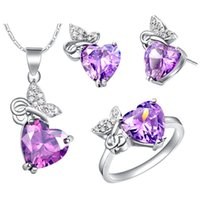 Wholesale Sterling Silver Wedding Jewelry Sets for Brides Earrings and Pendant Imitation Gemstone Necklace Set T443