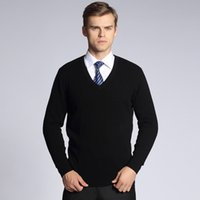 Wholesale Solid Color Cashmere Sweater Men New Arrival V Neck Mens Sweaters Wool Casual Pullover Men Long Sleeve Shirt Brand Pull