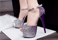 Wholesale Sexy Shoes For Ladies - 2016 Sexy Women Gradient Glitter High Heels Shoes Ladies Waterproof Platform Peep Toe Sandals For party   Nightclub  Wedding
