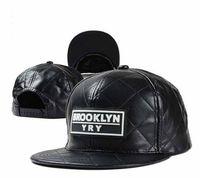 Wholesale New Fashion Leather Plaid Baseball Cap Men and Women Brooklyn Letters Snapback Bone Gorras Hip Hop Cap Hats