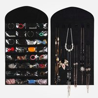 bamboo weaving material - High quality organizer Non woven fabric material Jewelry card necklace storagebag hanging bag x cm size black cream color