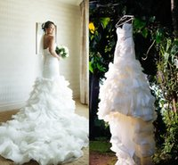 Cheap 2016 New Vintage Mermaid Wedding Dresses Sweetheart Ruffles Organza Elegant Real Images Bridal Gowns Vestidos De Noiva Plus Size Custom