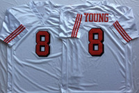 Wholesale 8 Steve Young Joe Montana Deion Sanders Stitched Throwback Football Jerseys Red Black White