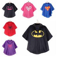 Wholesale Kids Superhero Raincoat Superman Batman Spiderman Child Camping Outdoors Waterproof Rain Gear T in stock