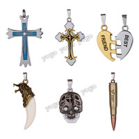 best skull pendant - Mix Stainless Steel Charm Pendants Cross Wolf Tooth Skull Bullet Best Friend Lovers Charms for Jewelry Necklaces colgantes moda Y6007