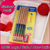 Wholesale 10 Pencil Sharpener High Quality Wooden Color Pencil Wood Rainbow Color Pencil for Kids School Graffiti Drawing Painting Pen