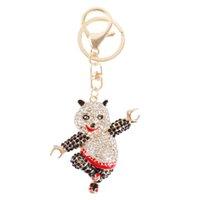 bear kung fu - Dancing Bear Kung Fu Panda Cute Pendant Rhinestone Crystal Purse Bag Key Ring Chain Send Friend Creative Gift