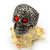 Wholesale Garnet Rhinestone Eyes L Stainless Steel Garden Flower Skull Ring US Size to r004303