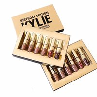 Wholesale kylielyed Birthday Limited Gold Edition Collection Matte Liquid Lipstick Cosmetics mini gold kyliee lip kit