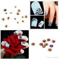 Wholesale 3D Glitter Round Shape Resin Mixed Sizes Rhinestones For Nail Art Tips Nail Art Decoration