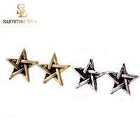 antique stud earrings - 1 cm Antique Vintage Star of David Stud Earrings for Women Superstar Nouveaute Small Pentagram Earrings Cheap Cute Ear Rings Jewelry