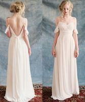 Wholesale Romantic Boho Beach Wedding Dresses V Neck Puff Sleeve Backless Bohemian Bridal Gowns Plus Size Cheap Wedding Dress