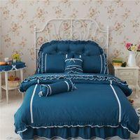 beautiful bedspreads - Purple Lace Korean bedding set bedspread bedshirt beautiful princess style bohemian girls bed skirt duvet covers linen