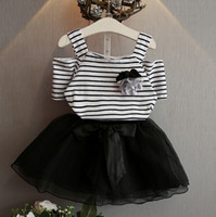 Boy baby sets - 2016 INS baby girl kids Summer piece set outfits Stripe hollow sexy shoulder Shirt tutu tops Vest blouse tulle skirts shorts Rose brooch