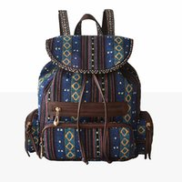 Wholesale Fashion Ethnic Bohomia Backpack Girl s Women s Lady s Stripe Canvas Leather Crochet Retro Travel Student Bag Daypack Rucksack Shoulder Bags