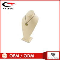 Wholesale necklace mannequin gray color wth leather and velet material necklace display stand