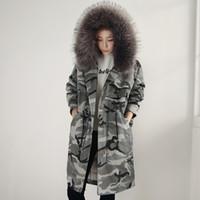 Wholesale Luxury Women Winter Long Coat Down Jackets Fur Warm Down Parkas Hooded Snow Overcoat Thicking Warm Outwear Windbreaker Outdoor Tops HOT