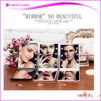 Wholesale Mini Portable touch screen Girl Compact Hand Makeup Pocket Mirror with Led Light with magnify mirror