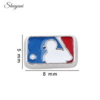 baseball memories - Fashion Enamel USA Baseball Team Charms DIY Alloy Floating Locket Charm for Living Memory Glass Locket Necklace