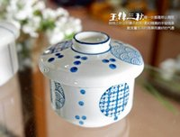 Wholesale Freehand Sketching High Temperature Ceramic Bowl Japanese Sweetmeats cuptureen With Lid