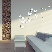 acrylic gallery - edroom decor gallery D Modern Wall Stickers Silver Butterfly Shaped Acrylic Mirror Surface Wall Stick Home Office Bedroom Decorat