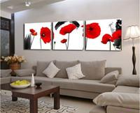 Живой дешево Цены-Красные маки цветок 3 шт стены искусства Холст Печатает Дешевые Современные картины настенные картинки для гостиной (бескаркасных)