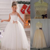 Wholesale Floor Length Tulle Ball Gowns Communion Dresses Sheer Neck Jewel Girl s princess gown Bowknot Flower Girl Dresses for Wedding