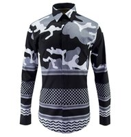 Long Sleeve big camouflage clothing - new fashion spring men s Designer Brand shirts mens club printed military Camouflage casual shirt man slim fit big size clothing
