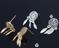 Wholesale Fashion Sterling Silver Bohemia Nationality Indian Feather Dream catcher Dreamcatcher Stud Earrings For Women Fine Jewelry