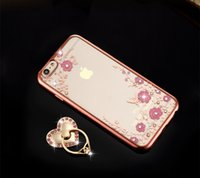 Cheap Luxury Bling Diamond Ring Holder Phone Case Crystal Flexible TPU Cover for Iphone 6 6s 6 plus with Kickstand