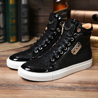 b jeans - Fashion design brand man high top jeans lace up shoes genuine leather casual shoes man pp shoes size38