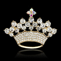 Wholesale Luxury Full of Crystal Crown Brooch Pins for Women K Gold Silver Plated Rhinestone Brooches Ladies Lapel Pins Collar Jewelry Christmas