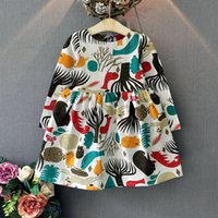 Wholesale Autumn winter Girls cotton Dress long sleeve Fashion abstract animals print brand style dresses European kids clothing children dress